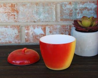 Vintage Hazel Atlas glass red and yellow apple milk glass jam pot jelly jar