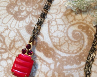 Vintage Red Glass Pendant with Ruby Red Rhinestone and Antiqued Brass Necklace