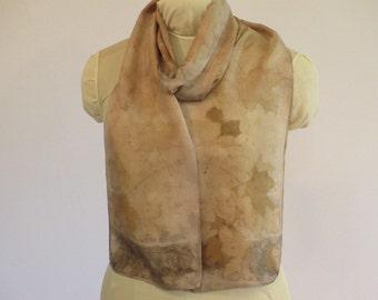 "Natural Dye Silk Scarf - Eco Fashion - Maple Leaf Ecoprint - Willow Bark - Rosy Buff Brown Taupe -  HA8161116 - 8""x70"" (20 x 177cm)"