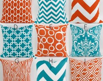 Turquoise & Orange Pillow Covers  -18x18 - Mix/Match patterns cushion sham euro throw modern teal tangelo custom nursery decor PremierPrints