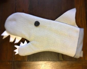 Wool Shark Oven Mitt with hanging loop