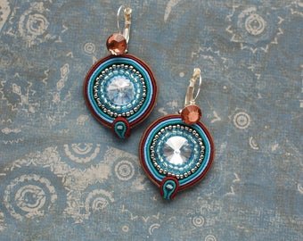 Small soutache dangle earrings, Blue, silver anb brown earrings, Soutache jewelry, Embroidered beaded earrings Crystal jewelry FREE SHIPPING