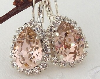 Blush earrings,Morganite earrings,Blush pink bridal earrings,blush bridesmaid earrings,Swarovski,blush pink weddin,teardrop crystal earrings