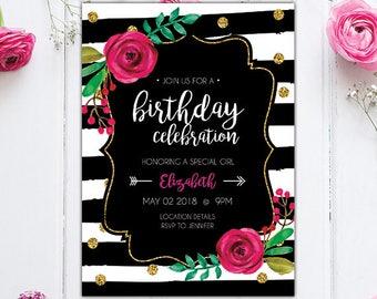 Black and White Stripe Floral Birthday Invite  - Watercolor Floral Invitation- Gold Glitter - Birthday Watercolor Floral Striped Invite