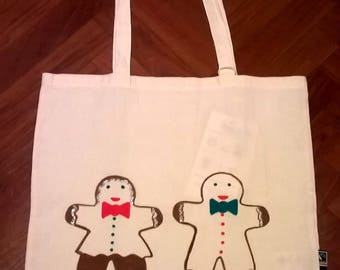 Christmas Shopping bag GOTS certified cotton ginger men and Fairtrade hand painted