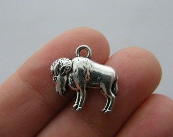 4 Buffalo charms antique silver tone A10