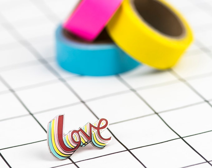 Rainbow LOVE hand drawn typographic hard enamel pin in silver
