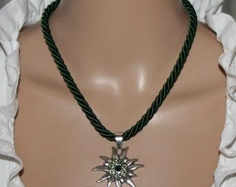 Dirndl-necklace-cord-fir green-edelweiss pendant