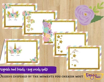 6 Unicorn Rainbow Food Tent Cards Party Celebration Table Label  - Digital Download