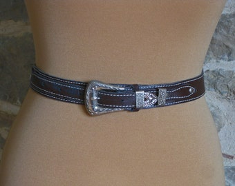 Brown leather Western belt, small size French cowgirl waist belt tooled leather engraved silver buckle