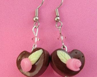 SALE Item - Chocolate Rosebud Valentine Heart Dangle Earrings -  handmade polymer clay