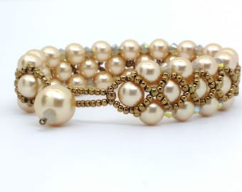 Golden Glow Pearls with Swarovski Crystals