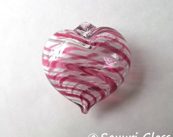 Pink White Stripe Heart Ornament : DISASTER RELIEF