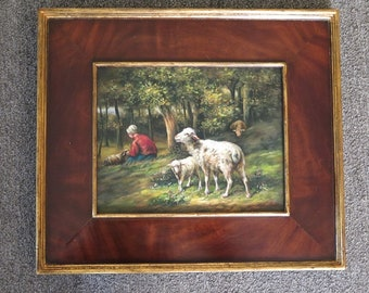 LF44759E: Burl Walnut Frame Oil Painting on Board Of Sheep