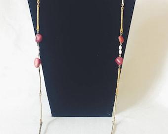 Vintage Brushed Gold & Agate Long Strand Necklace