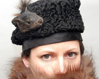 Taxidermy Black Squirrel Head & Tail with Faux Persian Lamb Antique Base Hat