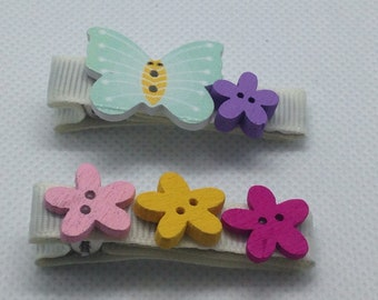 One of a kind, pair of  bright butterfly and flower crocodile hair clips.