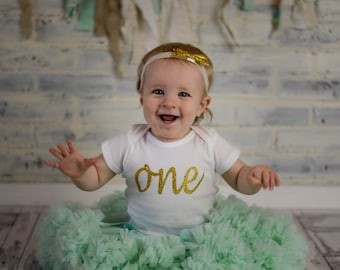 """Gold Glitter Iron-On vinyl cursive """"one"""" lettering for yearly, monthly, or birthday onesie- Lettering ONLY"""