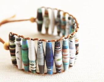 Travel magazine bracelet • Repurposed bracelet • Traveler gift • Nature friendly jewelry • Gift for travel lover • Gift for outdoor lover