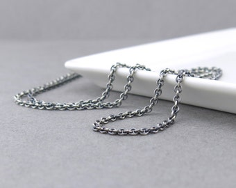 Sterling Silver Chain Necklace 2.4mm Cable Oxidized Heavy Weight Silver Necklace Chain Interchangeable for Add On Pendants and Charms