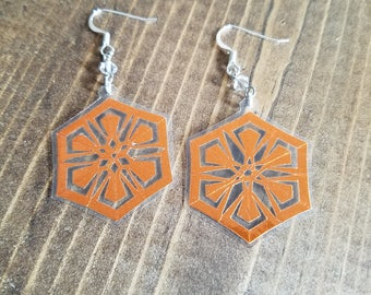 Snowflake Earrings Bronze Color - Hand Cut