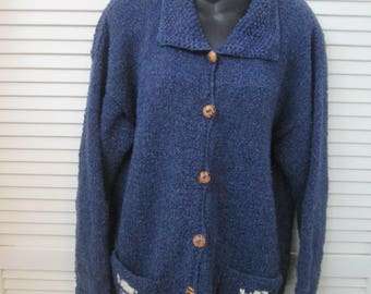 Vintage royal blue and white nubby 50 wool 50 cotton cardigan sweater with wooden buttons.Northern Woolen made in Bolivia.