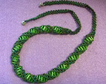 Spiral Seed Bead Necklace Rope Seed Bead Necklace Tube Necklace Handcrafted Opera Length Woven Mesh Necklace Glass Bead Necklace