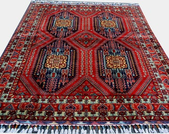 6.5X4.9 ft  High quality Double Knotted rug Soft with Vibrant Colors! Hand-Knotted Persian design made by Afghan Turkoman FREE SHIPPING!