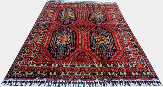6.5 X4.9 Ft High Quality Wool Rug Double Knotted Skillfully Knitted Soft Silk Like Persian Style Rug With Unique Colorful Look Afghan Rug by Etsy