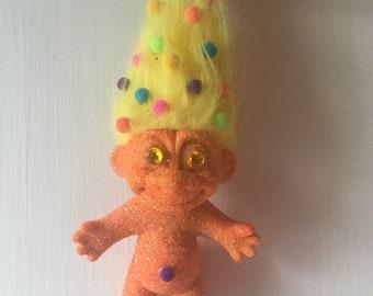 Orange Glitter Troll
