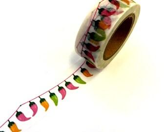 Chili Pepper Bunting Paper Washi Tape Scrapbooking Decorate Sticker - Fiesta Party