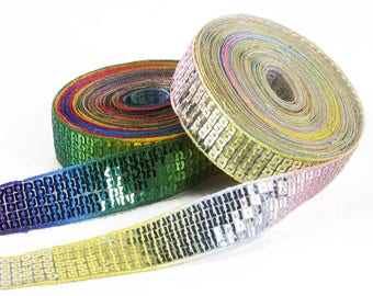 Sparkly Rainbow Sequin sequin stripe Ribbon * 25 mm / 5 rows * gradient bright or Pastel - sold by the yard - sewing skating bags