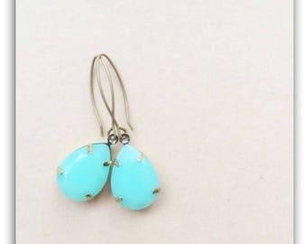 Aqua Green Tear Drop Gems Jewels, Oval Pear Drop Gem Charm, Vintage Style Earrings, Antique Bronze/Brass Earwires