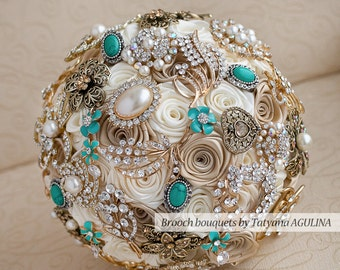 Brooch bouquet. Ivory, Champagne and Mint wedding brooch bouquet, Jeweled Bouquet. Quinceanera keepsake bouquet