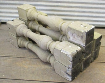 7 Balusters Cream Wood Architectural Salvage Spindles Porch Post House Trim d, Vintage Wood Spindles, Wooden Balusters, Rustic Farmhouse,