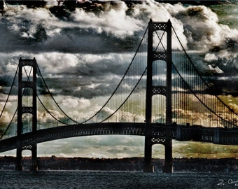 Michigan Photography, Bridge Photography, Mackinac Bridge Art, Mackinaw Bridge, Bridge Photography, Bridge Photo, Black Sky, Blue, Gray,