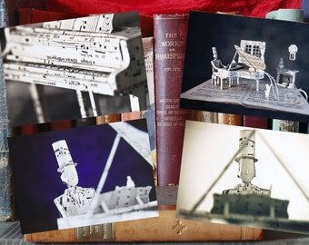 "Paper Sculpture Fineart Postcards: Complete set ""Piano"""