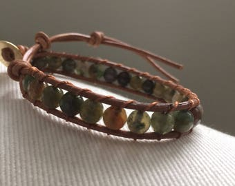 Beaded Leather Wrap Bracelet,  Earthtone  Gemstone Single Wrap Bracelet, Boho Style Wrap, Beaded Bracelet,popular