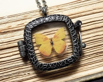 Yellow and Silver Butterfly Locket Necklace