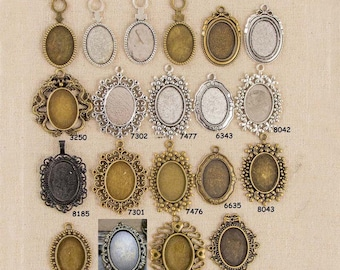 5 Oval 18x25mm Pendant Trays, Antique Bronze Silver Base Cabochon Setting Blank Bezel Frame Cameo Metal Alloy