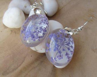 flower earrings, earrings, Christmas gift for her, flower jewelry, floral earrings, clear resin earrings, resin earrings, nature earrings
