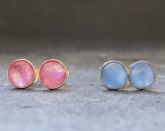 Pink Quartz Studs, Blue Quartz Studs, Gold Gemstone Stud Earrings, Chalcedony Earrings, Pastel Earrings, Gold Vermeil
