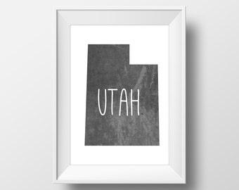 Utah State Black Chalkboard Printable Art, Utah Print, Utah Art, Modern Art,