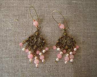 Earrings, pink and pearls