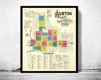 Old map of Austin Texas 1894