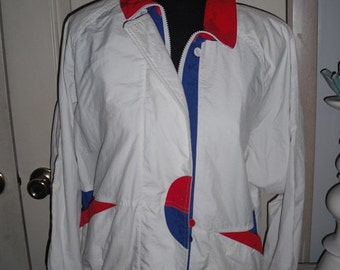 vintage 80s KORET Jacket ...  GEOMETRIC White with Red and Blue color block ... Retro indie hipster Small to Medium ~ New Wave