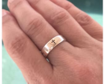 Sterling Silver Cross Ring / Silver Cross Band / Promise Ring