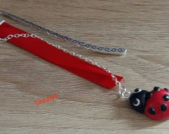 Alloy with a polymer clay Ladybug bookmark