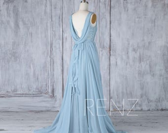 Bridesmaid Dress Dusty Blue Chiffon Dress,Wedding Dress,Lace Illusion Boat Neck Ruched Maxi Dress,Cowl Back Ruffle Prom Dress(H537)