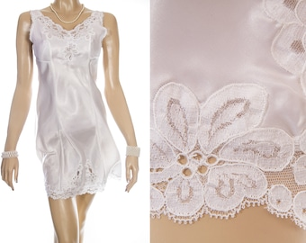 Delightfully feminine silky soft glossy white nylon satin and intricate sexy floral lace detail 1970's vintage full slip petticoat - S380